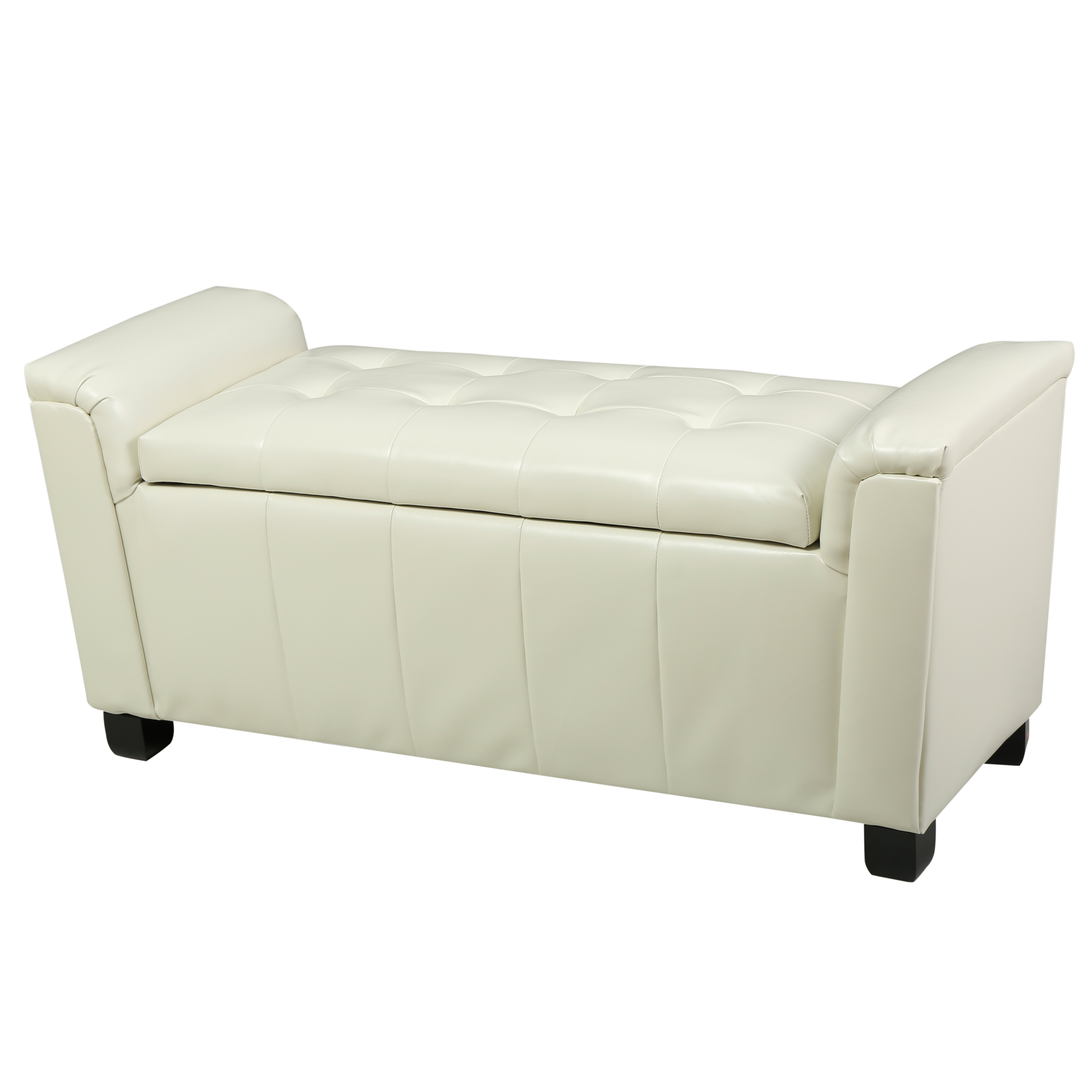 James Tufted Leather Armed Storage Ottoman Bench, Ivory