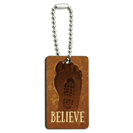 Bigfoot Sasquatch Believe Foot Print Wood Wooden Rectangle Keychain Key Ring](Real Rabbit's Foot Keychain)