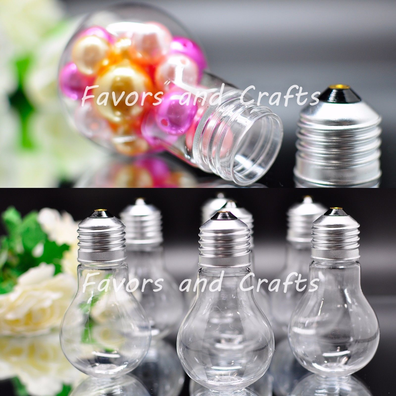 12 Fillable Plastic Light Bulbs Clear Wedding Favors Baby Shower Holders Christmas Quinceanera Gifts