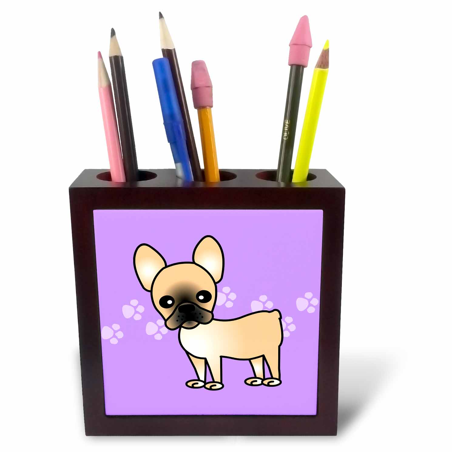 3dRose Cute Black Masked Fawn Cream French Bulldog Purple with Pawprints, Tile Pen Holder, 5-inch