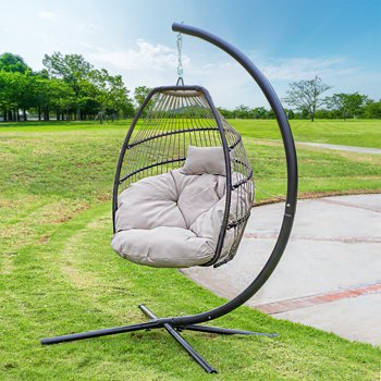 Barton Hanging Egg Swing Chair Soft Cushion Large Basket Patio Seating