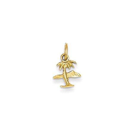 14k Gold Palm Tree Pendant (14k Yellow Gold Island & Palm Tree)