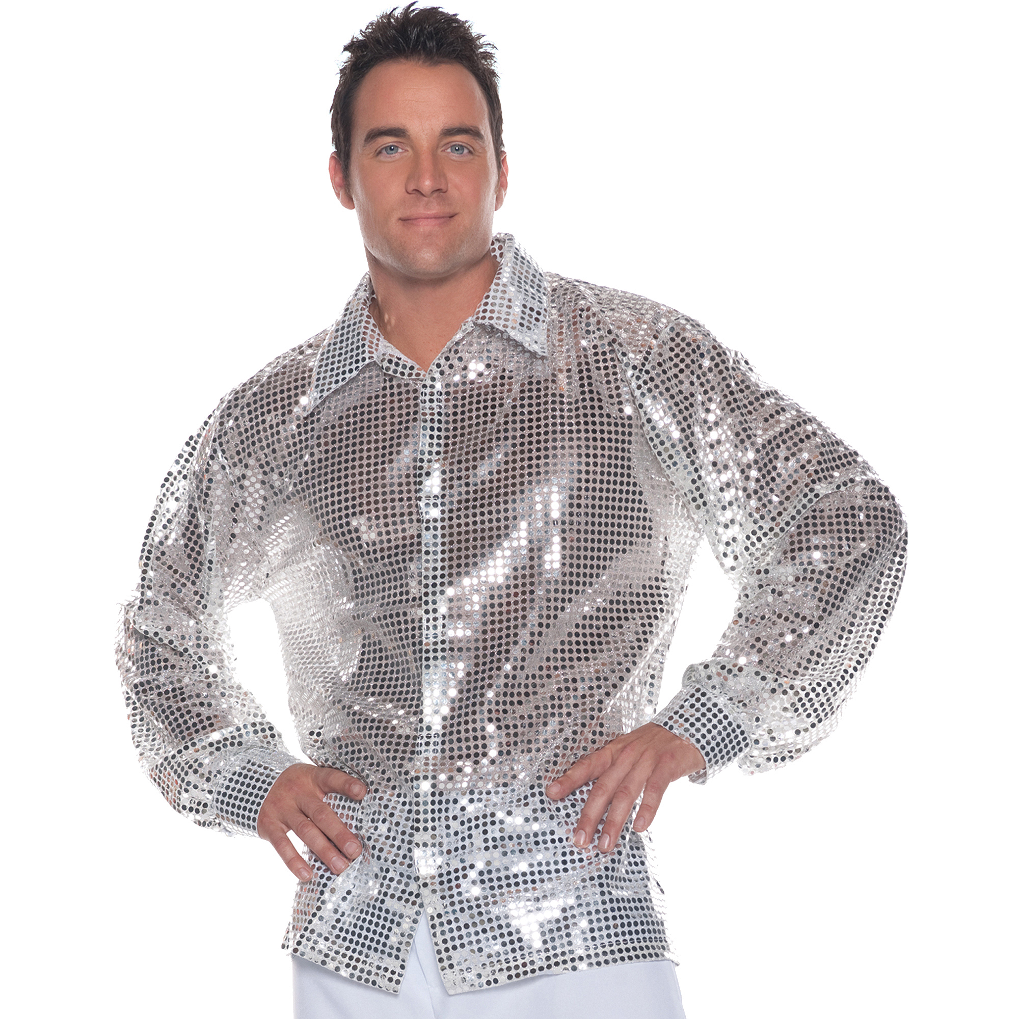 Silver Sequin Shirt Adult Halloween Costume