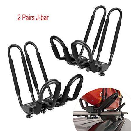 Stained Roof - Smarten Universal 2 pairs J-Bar Kayak Roof Rack Carrier Canoe Boat Surf Ski Roof Top Mount Car SUV Crossbar