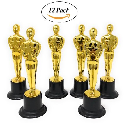 Oscar Party Ideas (Gold Award Trophies, 12 Pack 6 Inch Figure Trophy, Oscar Statues - Awards For Party Celebrations, Ceremony, Appreciation Gift, Sport, Academy Prizes, Games,)