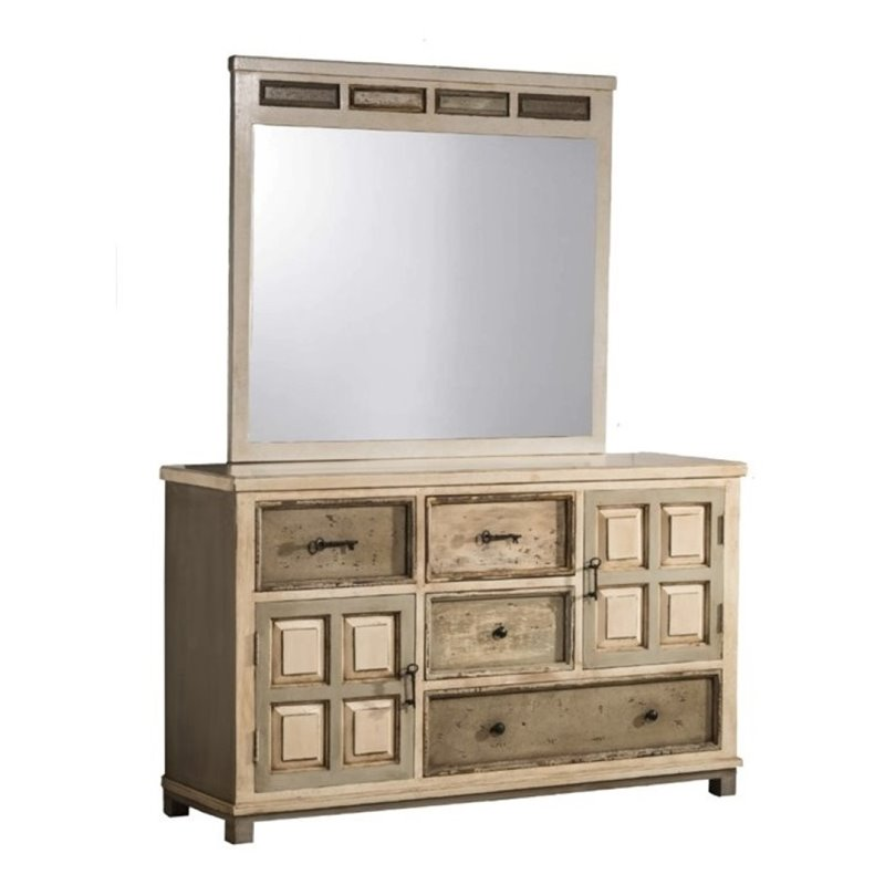 Bowery Hill 4 Drawer Dresser and Mirror Set in Rustic White Gray