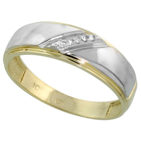 7 Mm Wide - 10k Yellow Gold Mens Diamond Wedding Band Ring 0.03 cttw Brilliant Cut, 1/4 inch 7mm wide