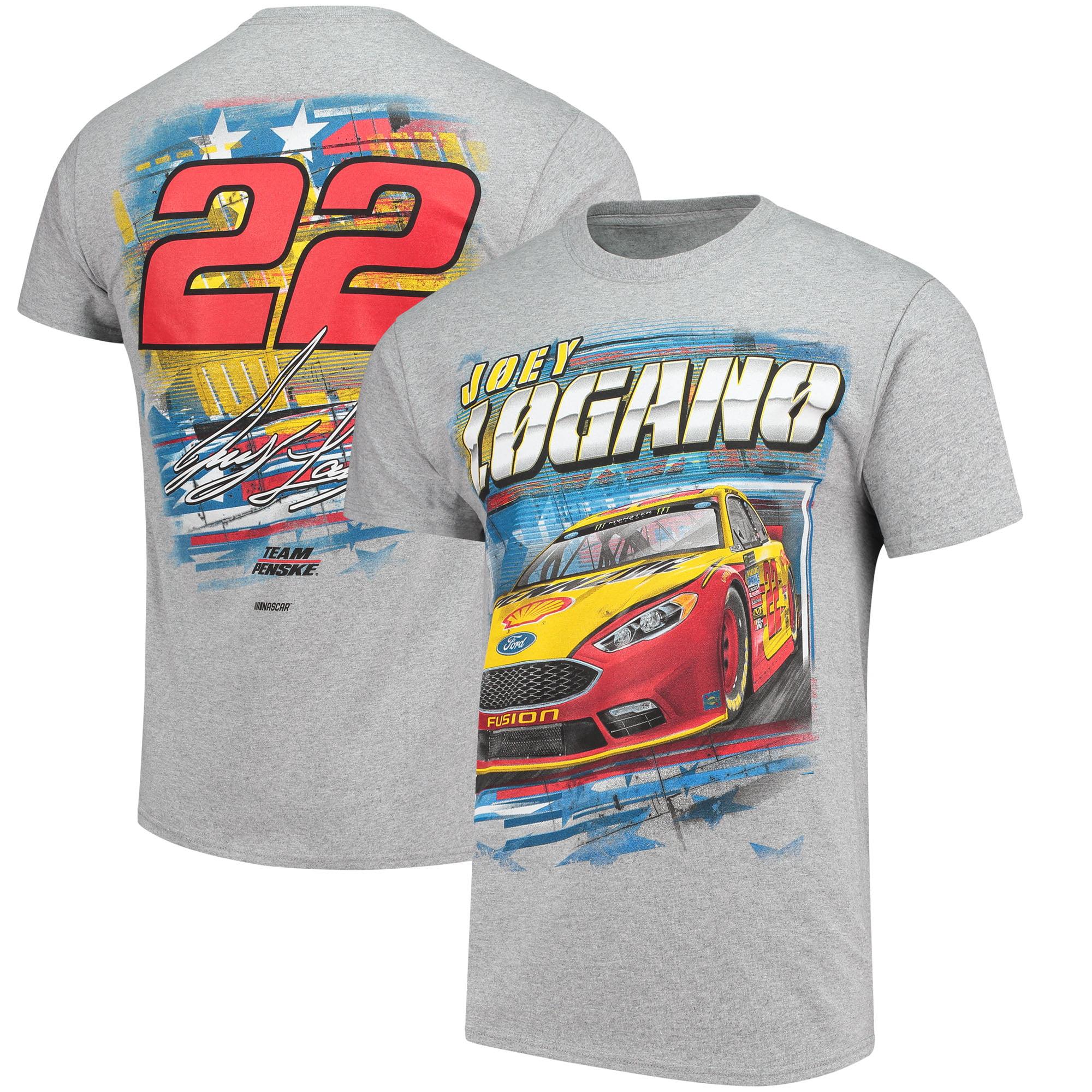 Joey Logano Checkered Flag Patriotic T-Shirt - Gray