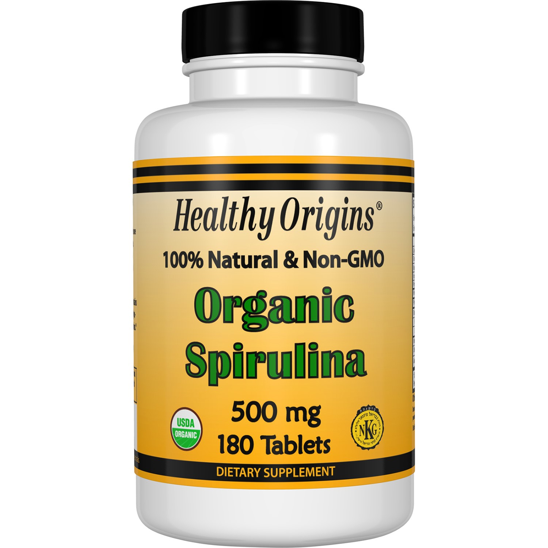 Healthy Origins Organic Spirulina 500 mg - 180 Tablets