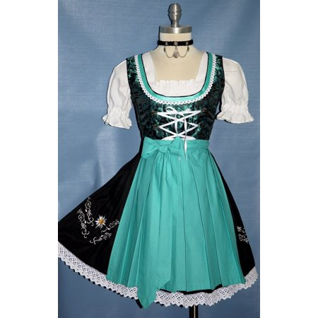 3-piece Short German Oktoberfest Dirndl Dress Black & Green (Halloween Dirndl Dress)