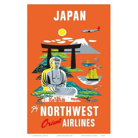 Fly Northwest Orient Airlines: Japan, c.1950s Art Print - 12x18 - Northwest Orient Airlines