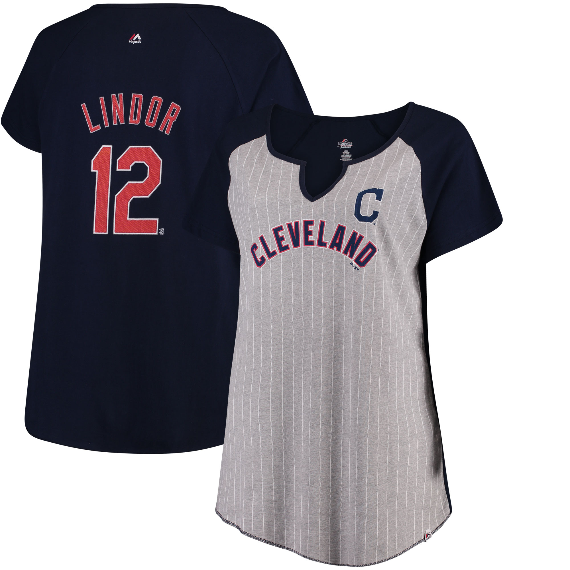 Francisco Lindor Cleveland Indians Majestic Women's Plus Size Pinstripe Player V-Notch T-Shirt - Gray/Navy