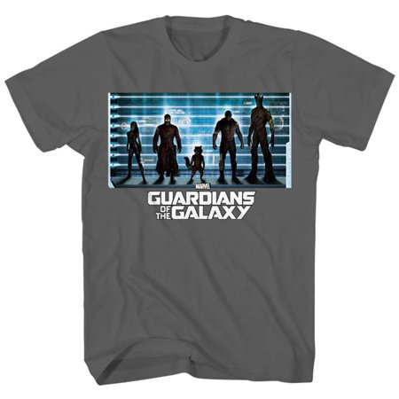 Guardians Of The Galaxy   The Line Up Apparel T Shirt   Grey
