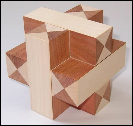 Plus-Cross Wooden Puzzle Brain Teaser by