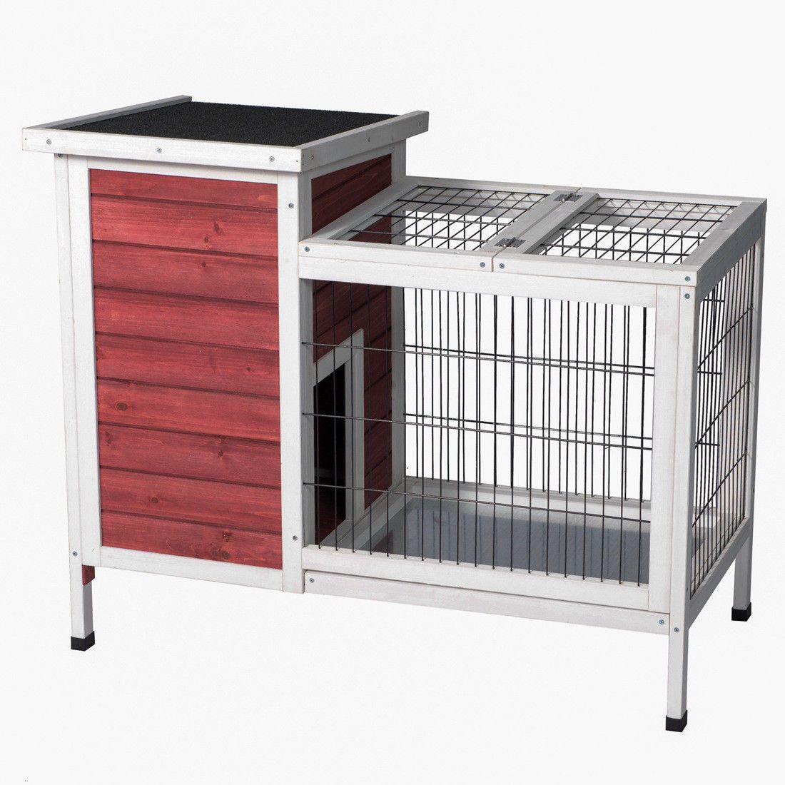 Product Image Wooden Outdoor Indoor Bunny Hutch Rabbit Cage Coop PET House  Red U0026 White