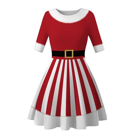 Fancy Dress Online Next Day Delivery (Women's Christmas Short Sleeve Swing Skater Cocktail Costume Fancy)