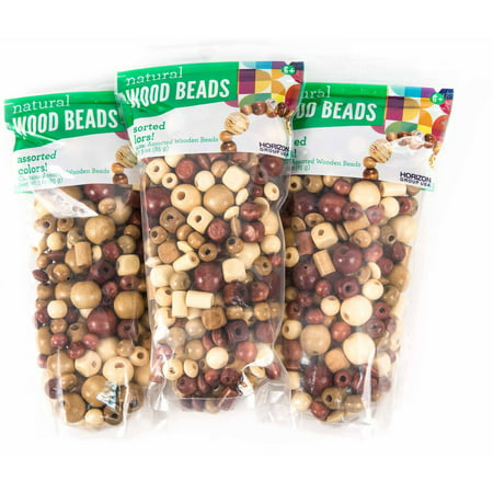 Assorted Natural Wood Beads 3pks 3 Oz Each By Horizon Group Usa