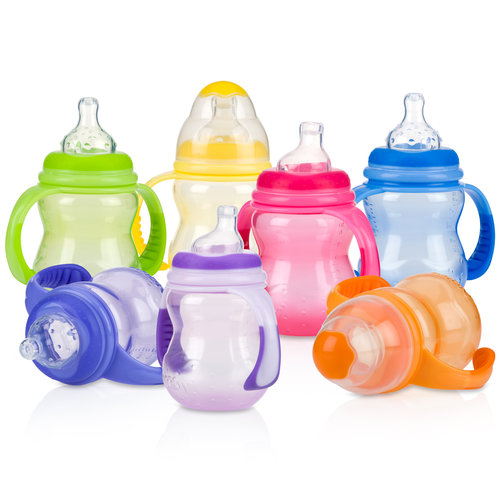 Nuby Stage 3 Bottle with Handles, BPA-Free, 8 oz (Color Vary)