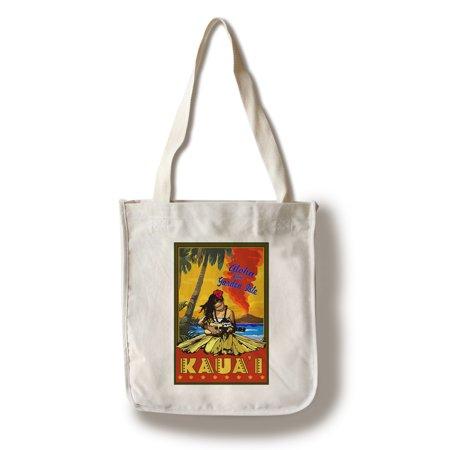 Hula Girl Ukulele (Hula Girl & Ukulele - Kauai, Hawaii - Lantern Press Poster (100% Cotton Tote Bag - Reusable) )