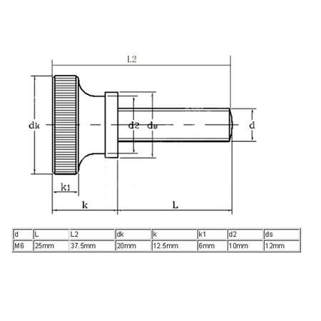 M3x12mm Tête moletée entièrement fileté Vis Fix vis 8pcs