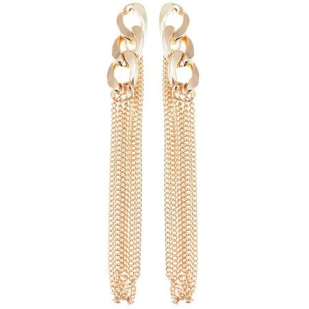 Long Link Earrings - Womens Golden Tone Urban Long Curb Chain Link Dangle Drop Earrings