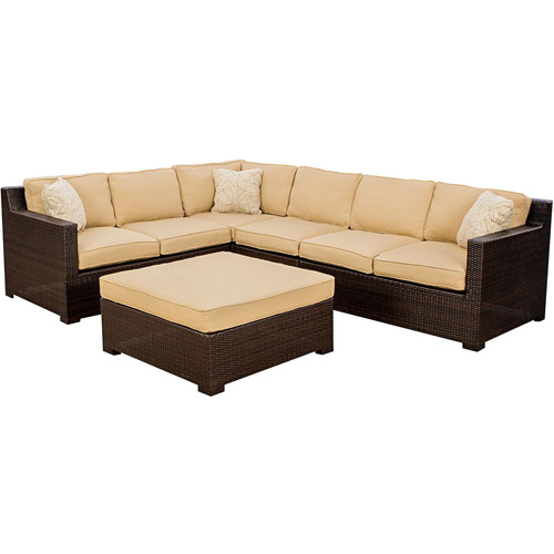 Hanover Metropolitan Outdoor Corner Chair, Armless Chair And Large Ottoman