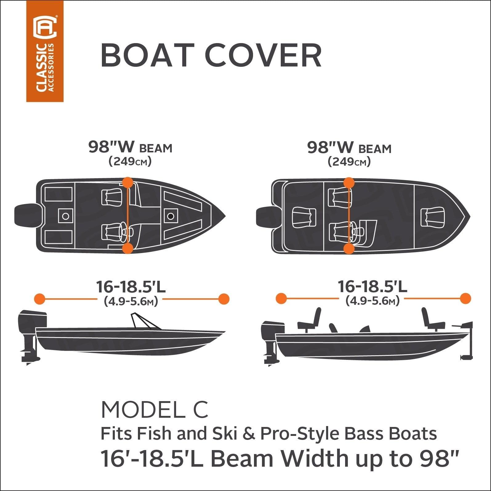 "14/' L x 68/"" W Classic Accessories Stellex™ Boat Cover Fits Boats 12/'"