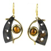 Global Crafts Handmade Golden Tiger Eye Domino Earrings (South Africa)