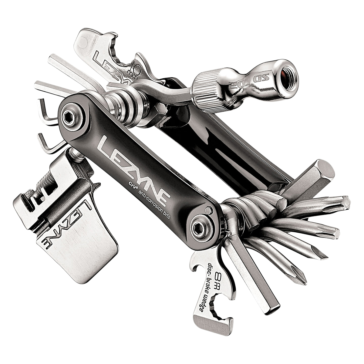 Lezyne RAP 21 Co2 21 Function Multi Tool, Aluminum Black Sides