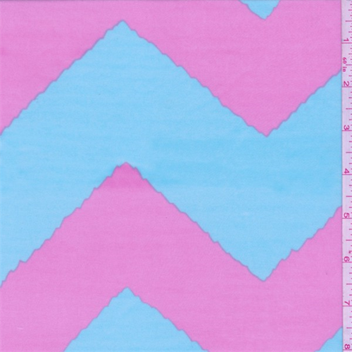 ITY Blue/Pink Wave Chevron Jersey Knit, Fabric By the Yard