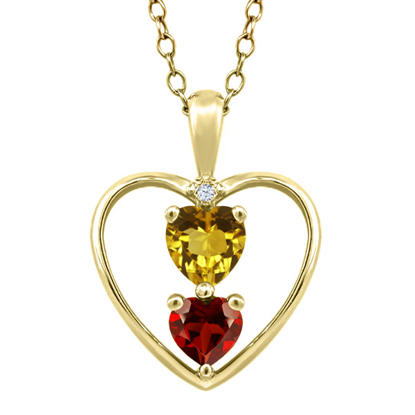 0.78 Ct Heart Shape Citrine Red Garnet Gold Plated Sterling Silver Pendant