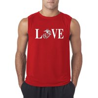 Trendy USA 145 - Men's Sleeveless Love Marines USMC Soldier Military Support XL Royal Blue