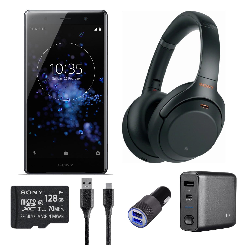 """Sony Xperia XZ2 Premium 5.8"""" Unlocked Smartphone (Black) with Headphone Bundle"""