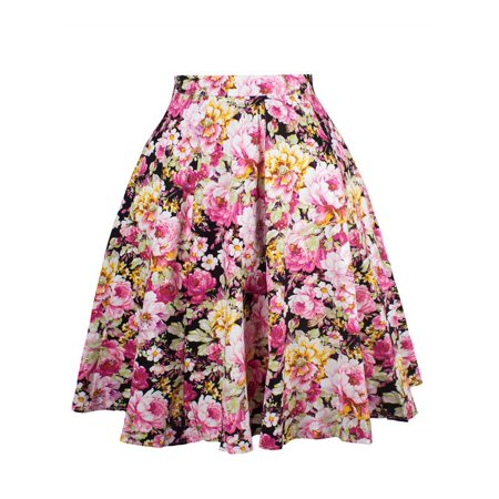 Women Floral Print A-Line Midi Waist Skater Casual  Flared Pleated Vintage Swing Skirt Ladies Polka Sots Solid Color Loose Skirts