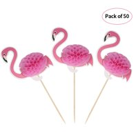 50pcs 3D Cartoon Fruit Food Toothpicks Cupcake Topper Cake Picks Decorations for Hawaii Luau Beach Wedding Birthday Pool Party--Flamingo