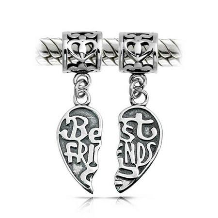 Bff Best Friends Forever Puzzle Two Piece Split Heart Shape Dangle Bead Charm 925 Sterling Silver Fits European