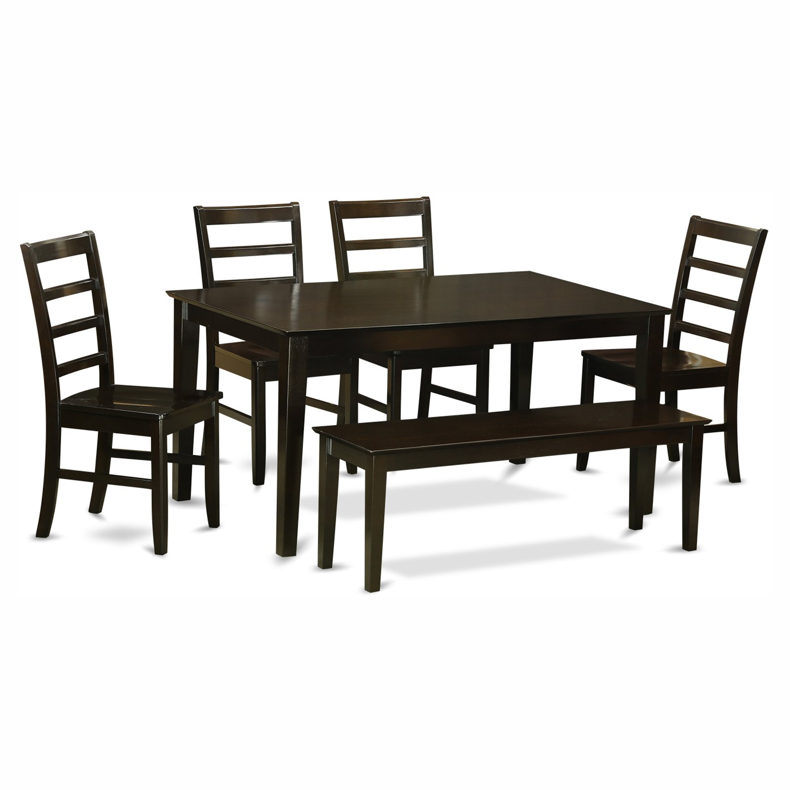 East West Furniture Capris 6 Piece Rectangular Dining Table Set with Parfait Wooden Seat Chairs