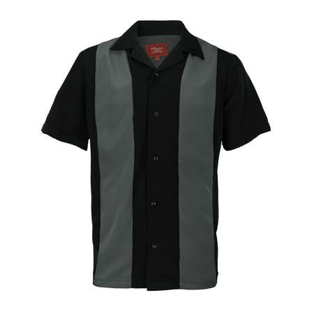 (Men's Retro Charlie Sheen Two Tone Guayabera Bowling Shirt)