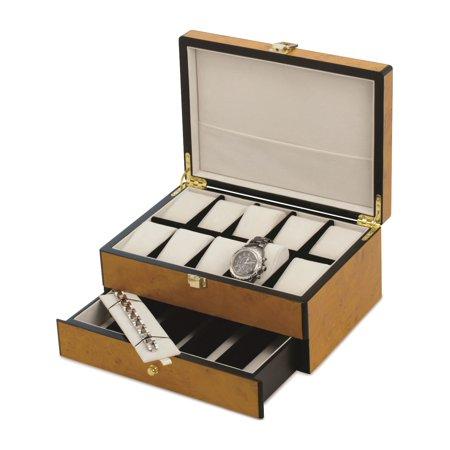 Blonde Burl Wood Finish 10-Watch Case (11.75x9mm)