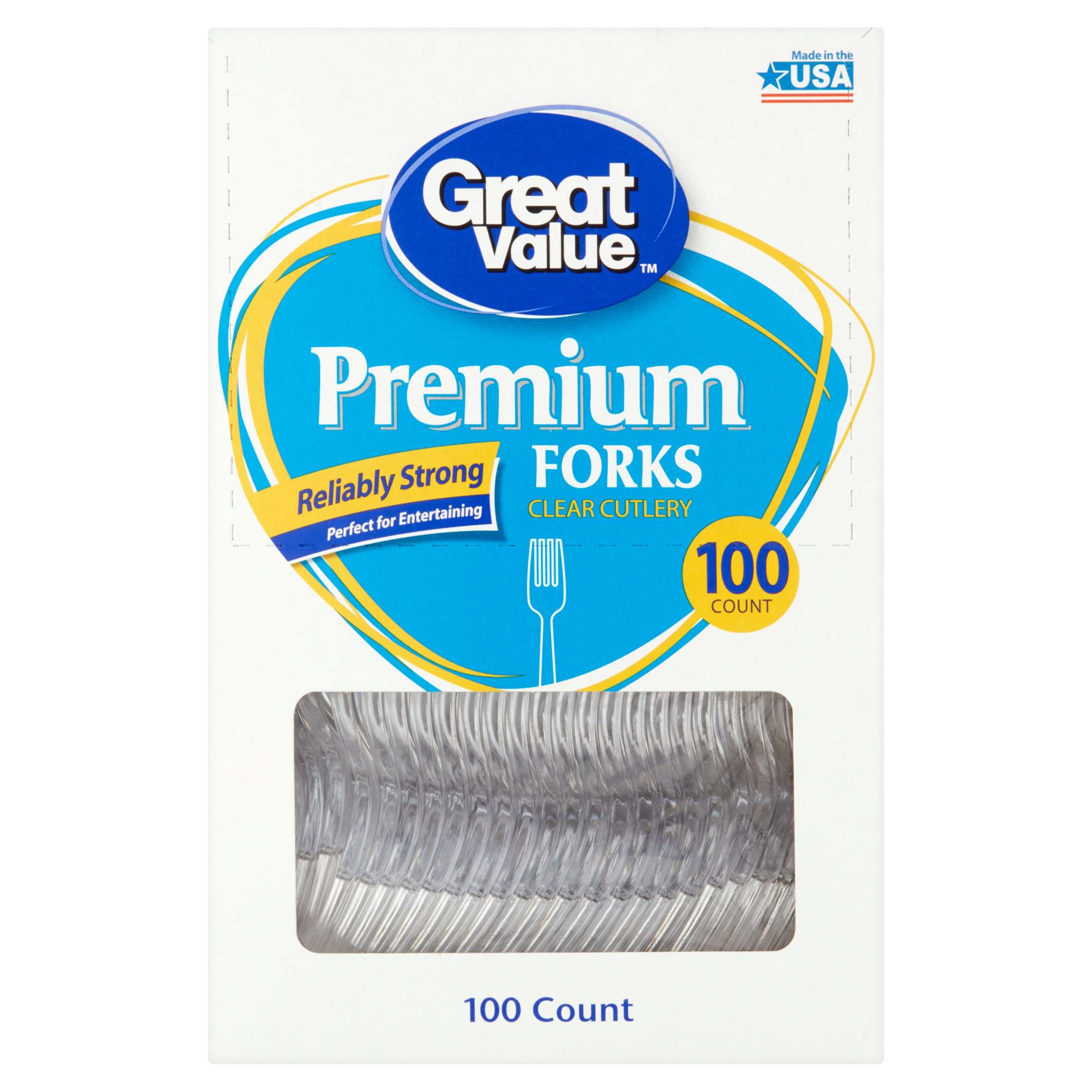 Great Value Premium Clear Forks, 100 Count