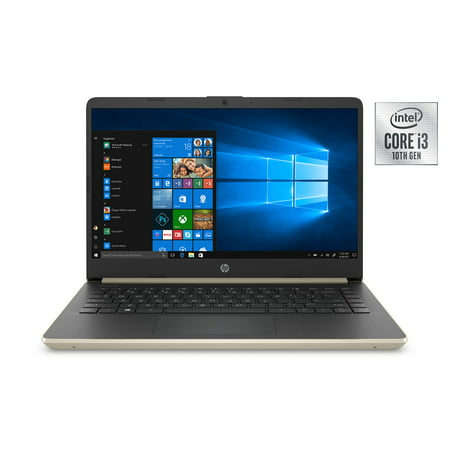 "HP 14"" Laptop, Intel Core i3-1005G1, 4GB SDRAM, 128GB SSD, Pale Gold, 14-DQ1038wm"