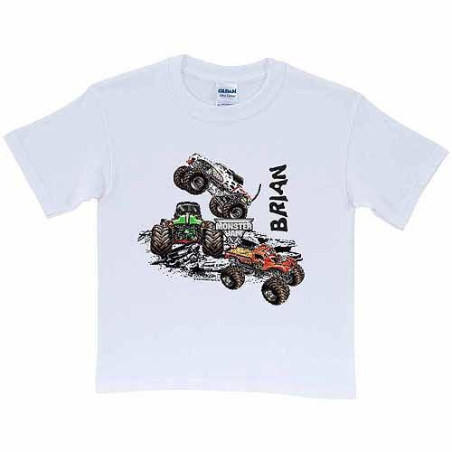 Personalized monster jam demolition boys 39 t shirt white for Walmart custom made t shirts