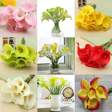 10X Artificial Latex Calla Lily Flowers Bouquet Wedding Bridal Garden Home Decor