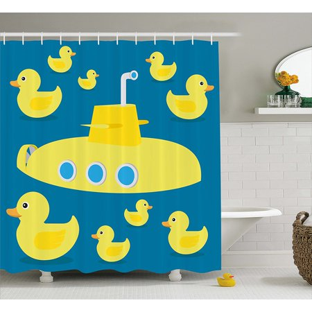 Rubber Duck Shower Curtain Set By Duckies Swimming In The Sea With A Yellow Submarine Kids Party Pattern Nautical Print Fabric Bathroom Ambesonne