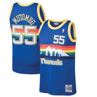 dikembe mutombo denver nuggets nba  mitchell & ness blue 1991-92 swingman throwback  jersey for men