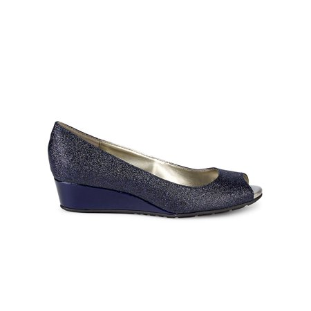 Candra Peep-Toe Demi-Wedge Pumps