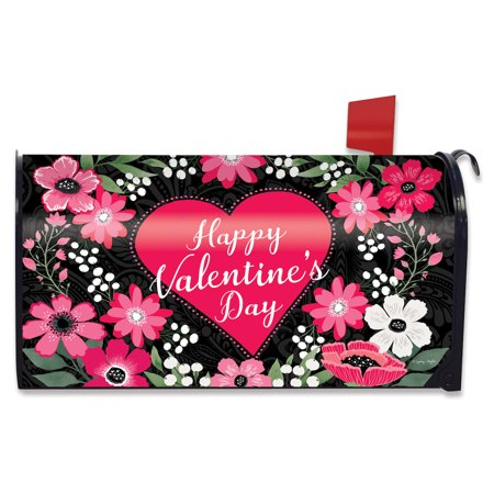 Happy Valentine's Floral Magnetic Mailbox Cover Love Heart Briarwood Lane