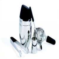 Chrome and Black Colored Barman's Deluxe Cocktail Shaker, 5 Piece Set