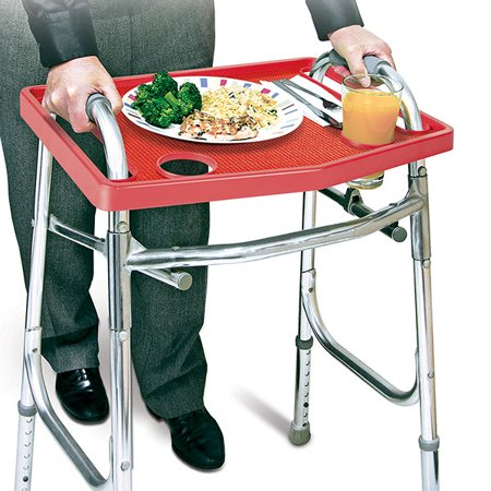 North American Health+Wellness JB7591RED Walker Tray with Non-Slip Grip Mat - - Red Twin Tray