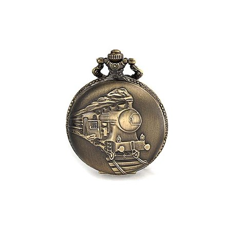 Antique Style Large Steam Engine Train Simulated Quartz Gold Plated Mens Pocket